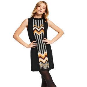 Zig Zag Stripe Crewneck Sweater Dress
